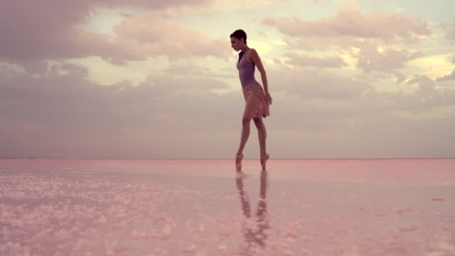young ballerina dancing on the lake in the morning - ballet dancing stock videos & royalty-free footage