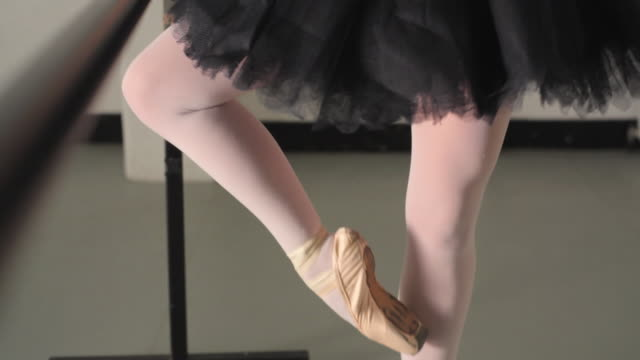 ms tu young ballerina rehearsing in dance studio / london, england - en pointe stock videos and b-roll footage