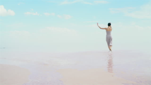 young ballerina running on  on the lake - ballet dancer stock videos & royalty-free footage