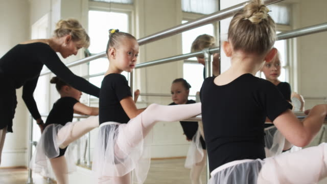 young ballerinas in a dance studio - tights stock videos & royalty-free footage