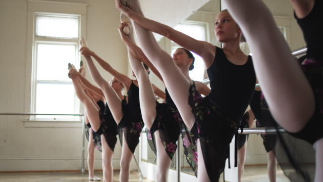 young ballerinas in a row - tights stock videos and b-roll footage