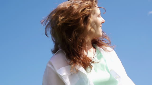 young beatuful woman - windswept stock videos & royalty-free footage