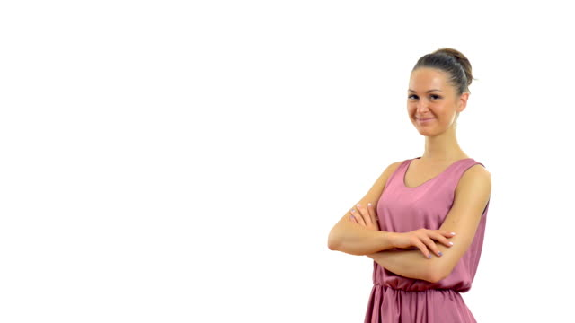 young beautiful girl in summer dress on a white background - video portrait stock videos & royalty-free footage