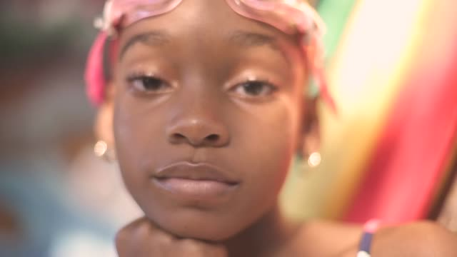 young black jamaican girl with goggles on her head - jamaican ethnicity stock videos and b-roll footage