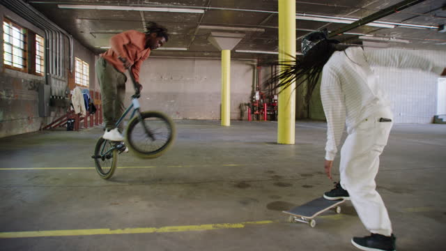 young black skateboarder and bmx rider - funky stock videos & royalty-free footage