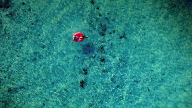 vídeos de stock, filmes e b-roll de jovem menina loira de férias, maldivas - flutuando na água