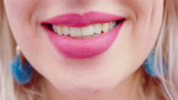 Young Blonde Lady's Mouth Smiling