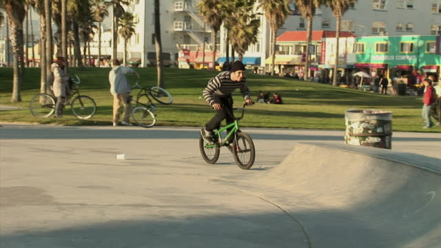 ws, young bmx biker hopping over ramp in park, venice, california, usa - fan palm tree stock videos & royalty-free footage