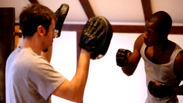 young boxer practicing with his instructor - kickboxing stock videos & royalty-free footage