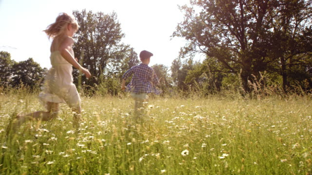 SLO MO A young boy and a girl running across summer meadow