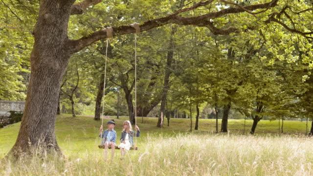 stockvideo's en b-roll-footage met slo mo ds a jongen en een meisje swingende onder een grote boom - schommelen bungelen