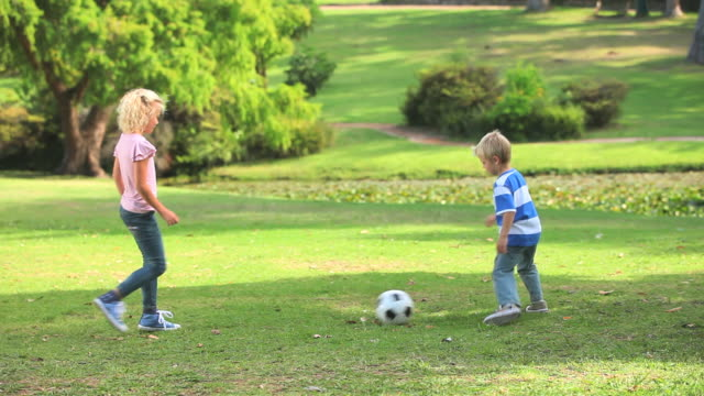 young boy and his sister playing together with a ball / cape town, western cape, south africa - kicking stock videos & royalty-free footage