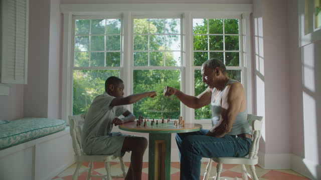 WS of young boy and mature man playing a game of chess together