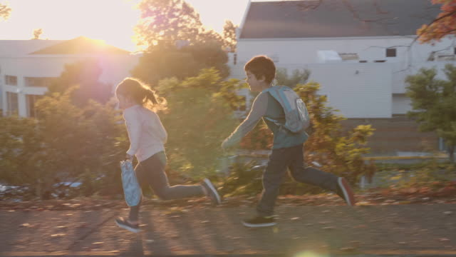 young boy chasing his sister - educazione video stock e b–roll