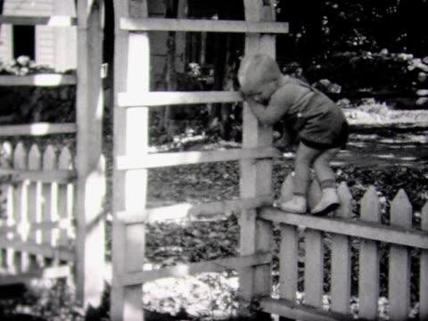 stockvideo's en b-roll-footage met 1937 young boy climbs a trellis - tuinhek