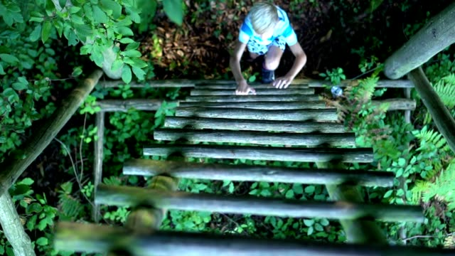 a young boy climbs the ladder - staircase stock videos & royalty-free footage