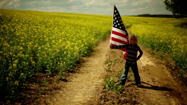 young boy displays his flag - patriotism stock videos & royalty-free footage