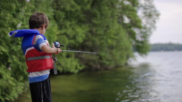 Young boy fishing on lake