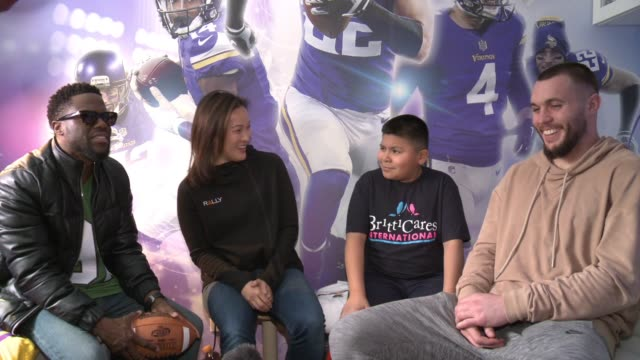 CHYRON Young Boy Gets FootballThemed Room Makeover With Surprise Visit From Comedian Kevin Hart And Vikings Safety Harrison Smith Through BrittiCares...