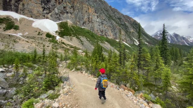 young boy hiking at mount edith cavell, jasper, canada - maligne river stock videos & royalty-free footage