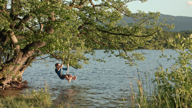 a young boy in jeans shorts and blue shirt sits swinging on a swing mounted on a tree hanging over water lakesides by the beach of lake staffelsee, he is bored of digital detox while swinging on a summer day - detox stock videos & royalty-free footage