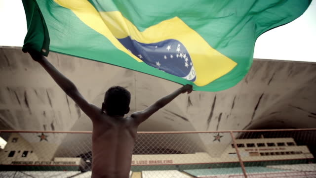 Young boy in soccer stadium waves Brazilian flag over his head triumphantly in slow motion