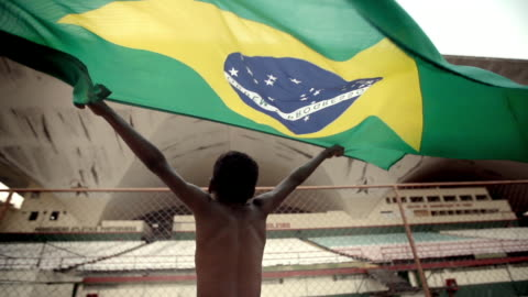 young boy in soccer stadium waves brazilian flag over his head triumphantly in slow motion - 巴西 個影片檔及 b 捲影像