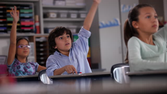 a young boy reviews his notes then eagerly raises his hand during class. - educazione primaria video stock e b–roll