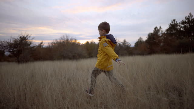 young boy running across grass field in nature - exploration stock videos & royalty-free footage