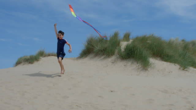 A young boy running having fun flying his kite on the beach.