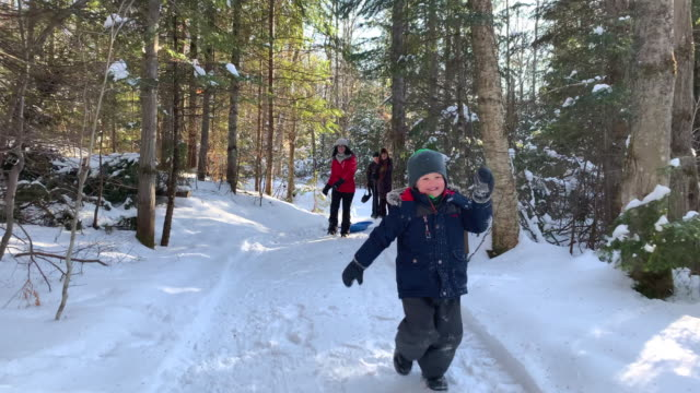 young boy running in the forest in winter after snowstorm - footpath stock videos & royalty-free footage