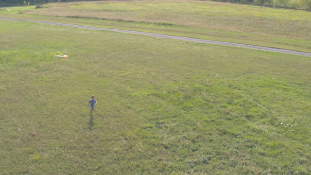 young boy runs with a kite in a field - kid with kite stock videos & royalty-free footage