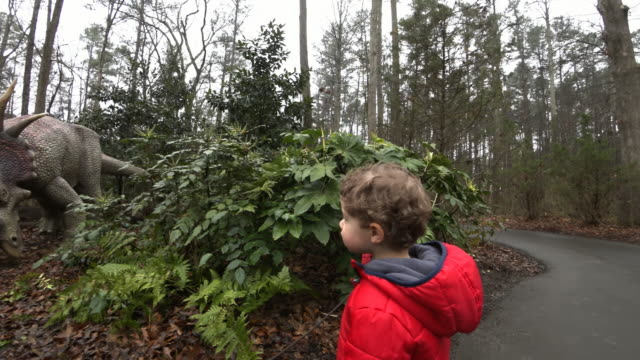 Young boy walking along a path with dinosaur models