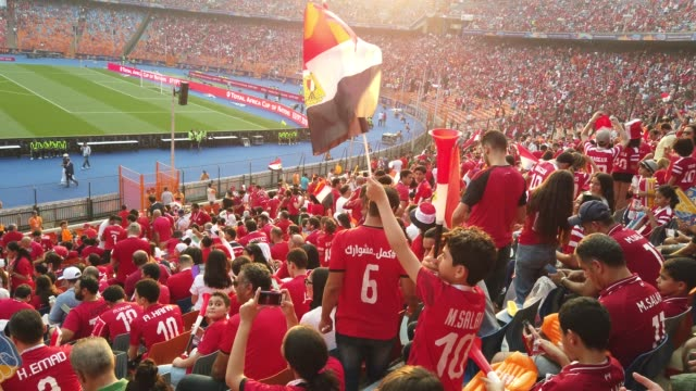 vidéos et rushes de a young boy wearing a football shirt with the name of egypt footballer mohamed salah on the back waves an egypt flag before the 2019 african cup of... - ambiance format raw