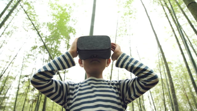 young boy wearing vr equipment and playing in bamboo grove - bamboo plant stock videos & royalty-free footage