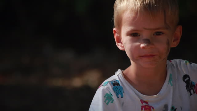 young boy with dirt on face sitting on wooden bike on a sunny summer day - kelly mason videos stock-videos und b-roll-filmmaterial