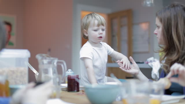 young boy with his family at breakfast - morning routine stock videos & royalty-free footage