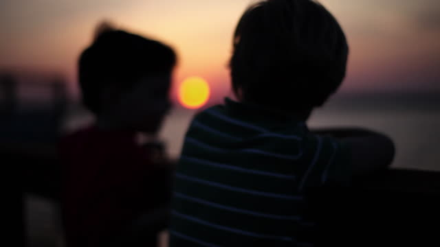 Young boys watch the sunset together from a dock.