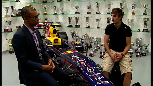 Young British drivers hope to become Formula One stars of the future Lewis Williamson interview with reporter in shot SOT Reporter and Williamson...