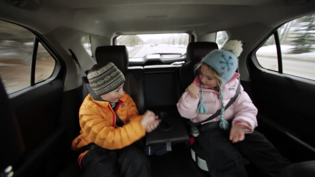 "ms pov young brother and sister playing ""shoot"" in  back seat on road trip / sun valley, idaho, united states - back seat stock videos & royalty-free footage"