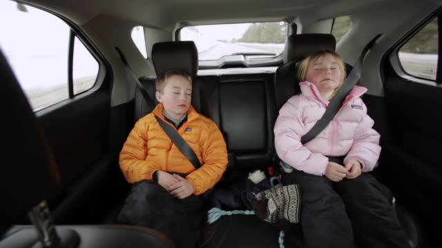 ms pov young brother and sister sleeping in back seat on road trip / sun valley, idaho, united states - warm clothing stock videos & royalty-free footage