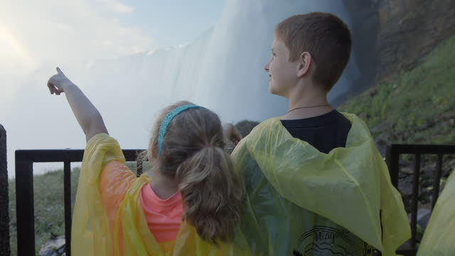 vídeos de stock e filmes b-roll de ms. young brother and sister traveling with family look out in awe at niagara falls. - irmão