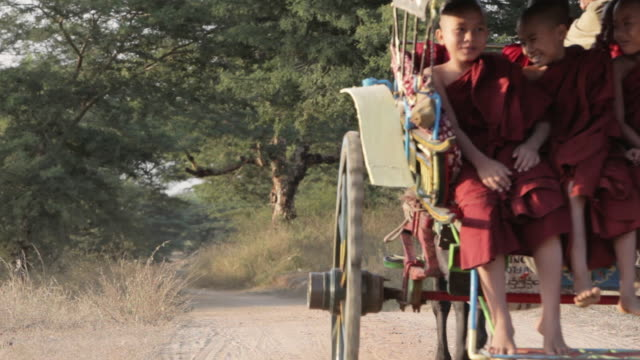ls young buddhist monks ride in a horse and cart through trees on a dirt track / bagan, myanmar - pagan stock-videos und b-roll-filmmaterial