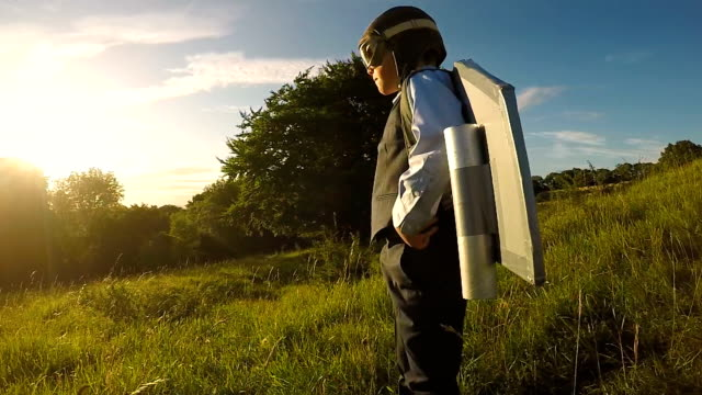 young business boy with jet pack in england - creativity stock videos & royalty-free footage
