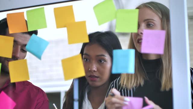 vidéos et rushes de brainstorming de l'équipe young business - étude de marché