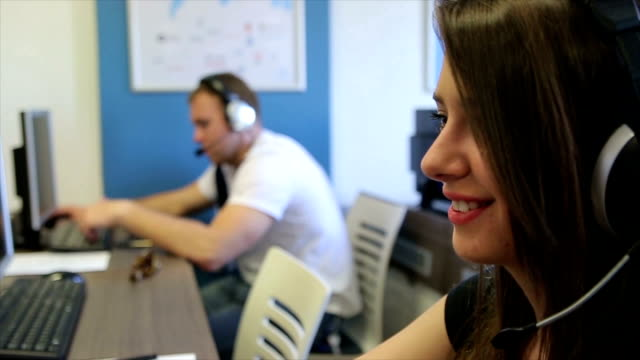 young business team in call center - cinemanis videography stock videos & royalty-free footage