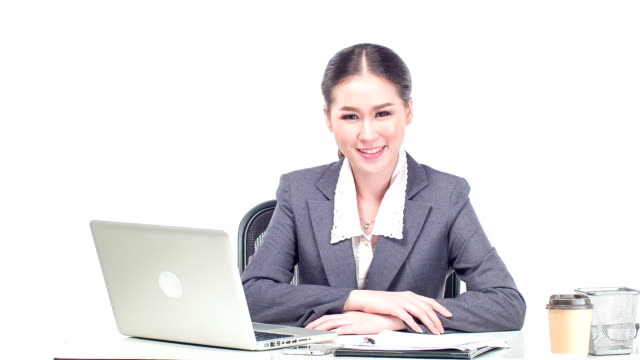 young business woman on white background - fine art portrait stock videos & royalty-free footage