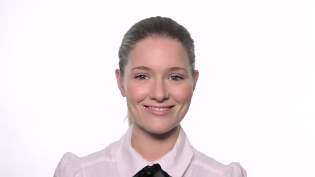 cu young business woman smiling to camera / london, uk - white collar worker stock videos & royalty-free footage
