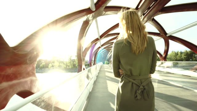 young business woman walks along river bridge - 4k resolution stock videos & royalty-free footage