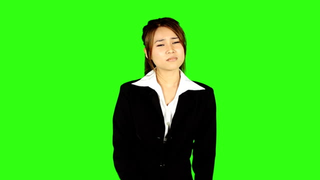 young business woman with headache on green screen background - keyable stock videos & royalty-free footage